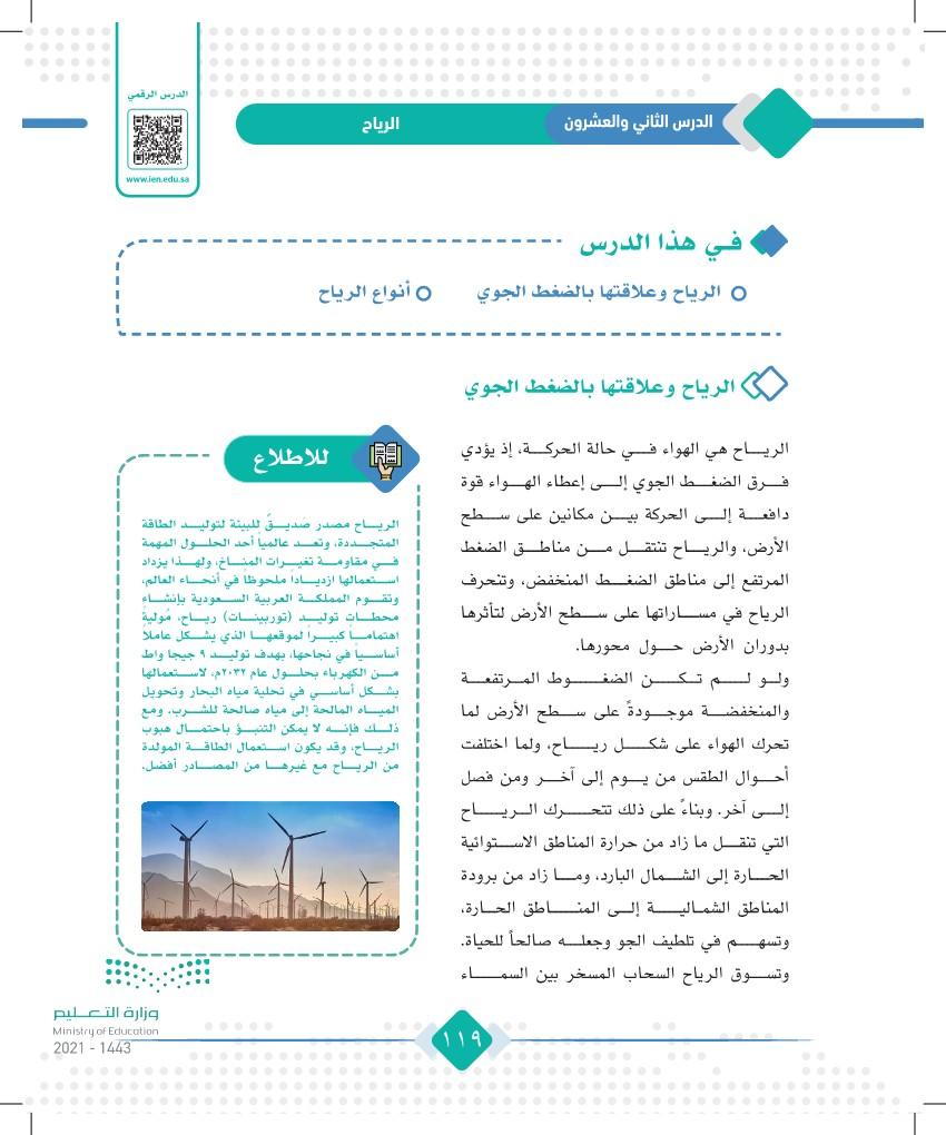 الدرس الثاني والعشرون: الرياح
