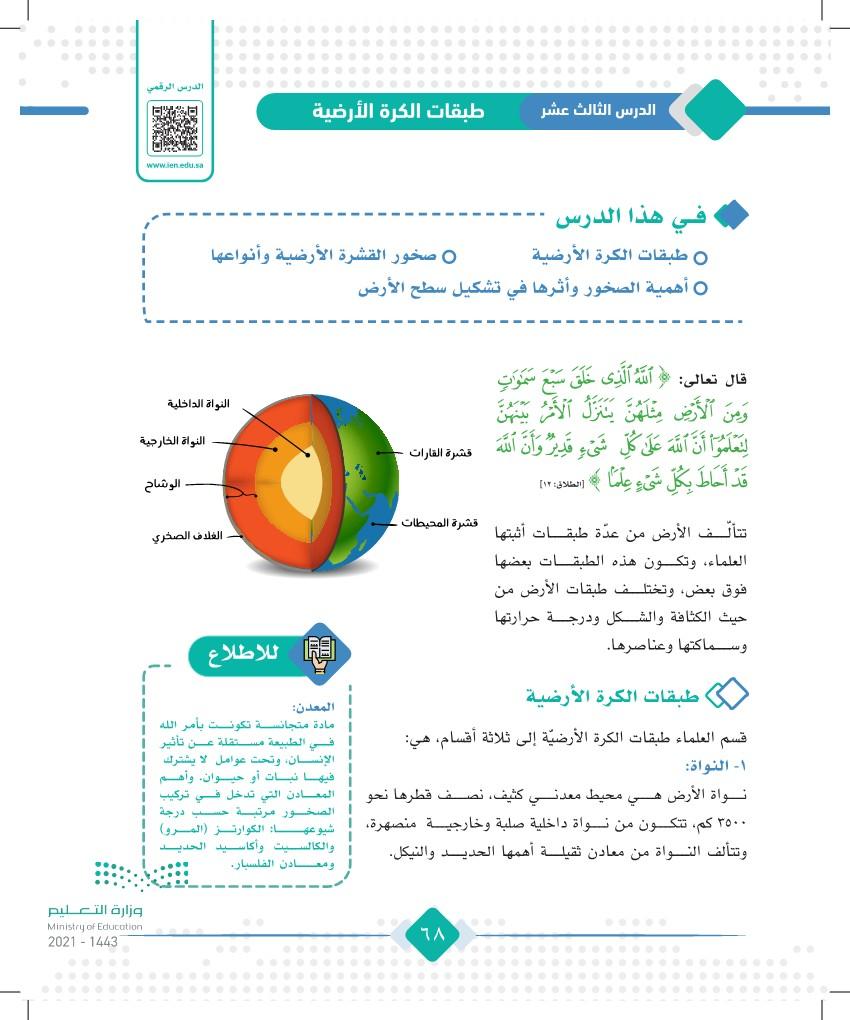 الدرس الثالث عشر؛ طبقات الكرة الأرضية