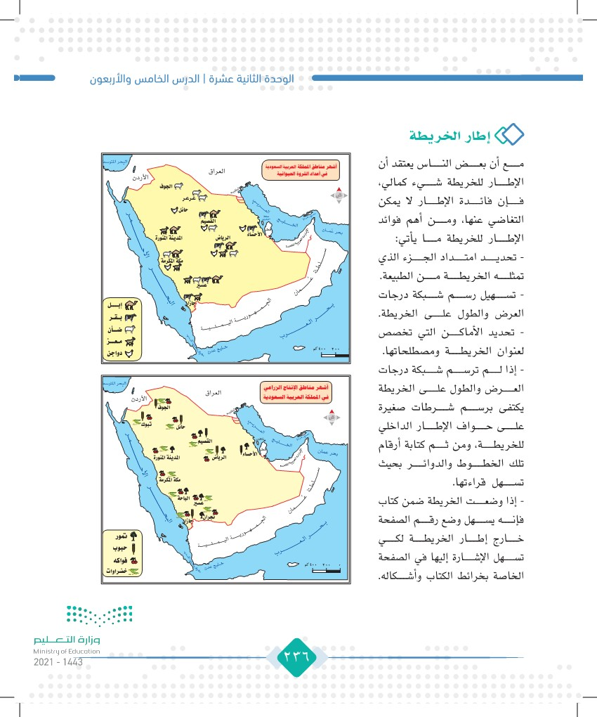 الدرس الخامس والأربعون: عناصر الخريطة (المفتاح والإطار)