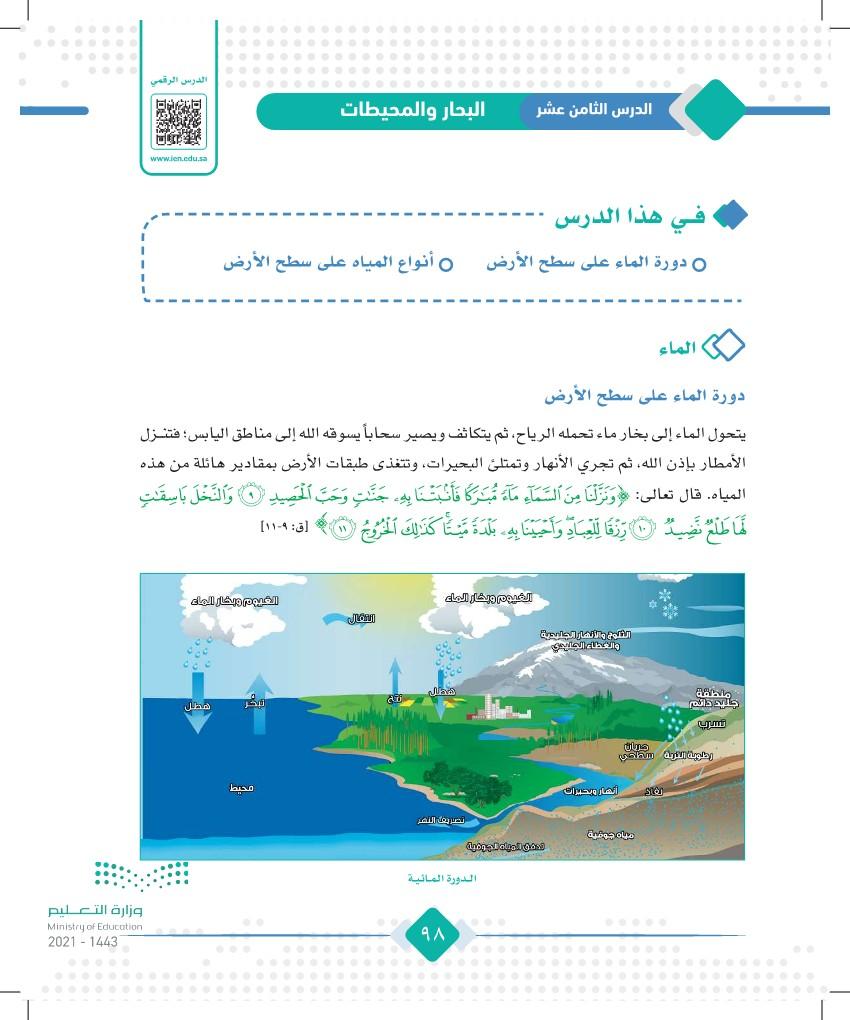الدرس الثامن عشر: البحار والمحيطات