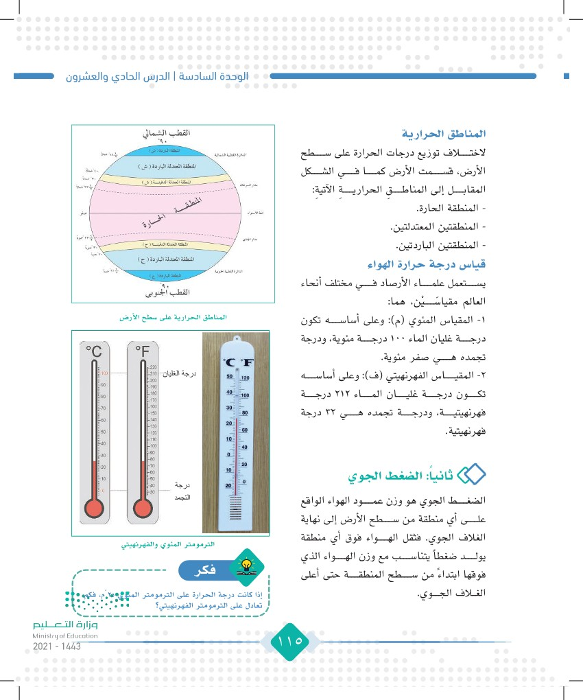 الدرس الحادي والعشرون: الحرارة والضغط الجوي