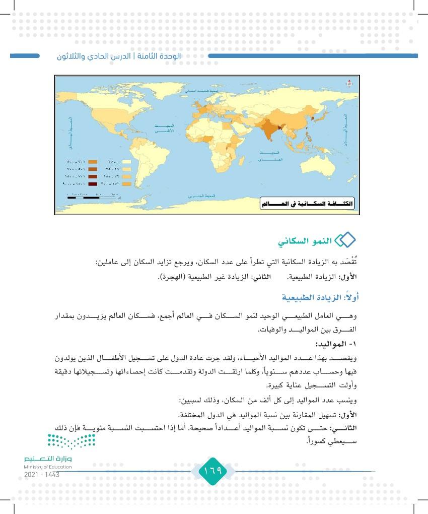 الدرس الحادي والثلاثون: الكثافة السكانية والنمو السكاني