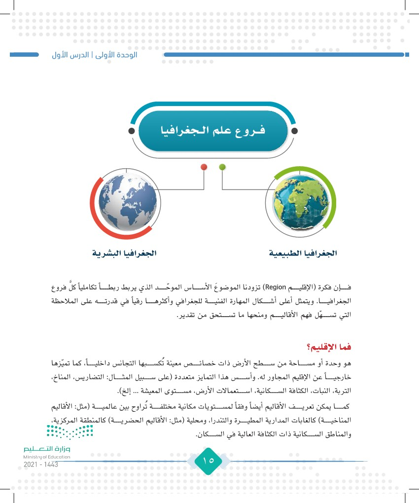 الدرس الأول: مفهوم علم الجغرافيا