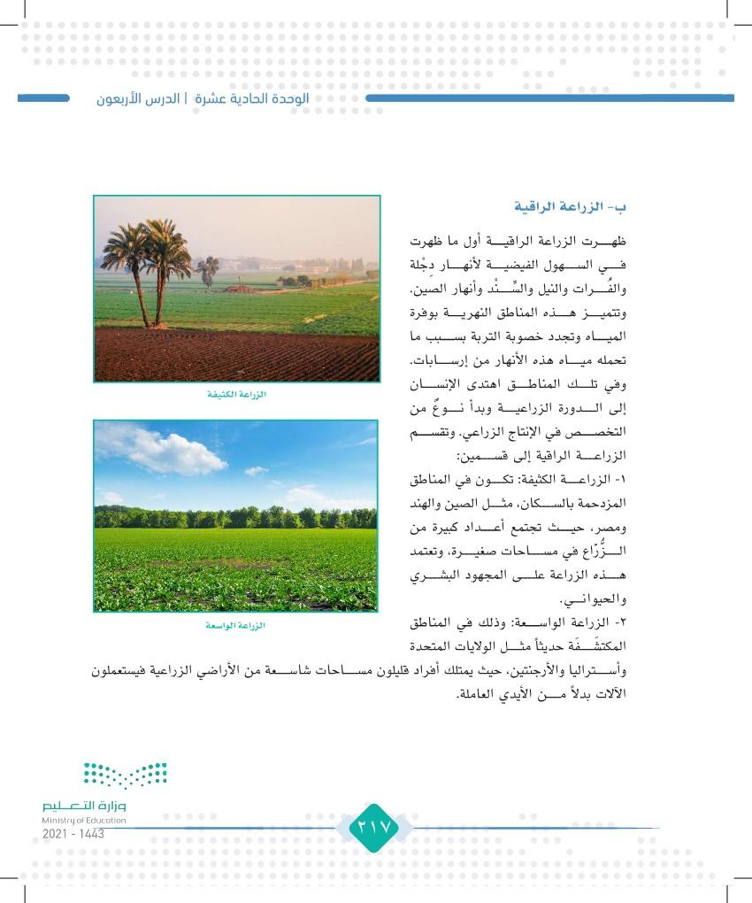 الدرس الأربعون: الزراعة والرعي