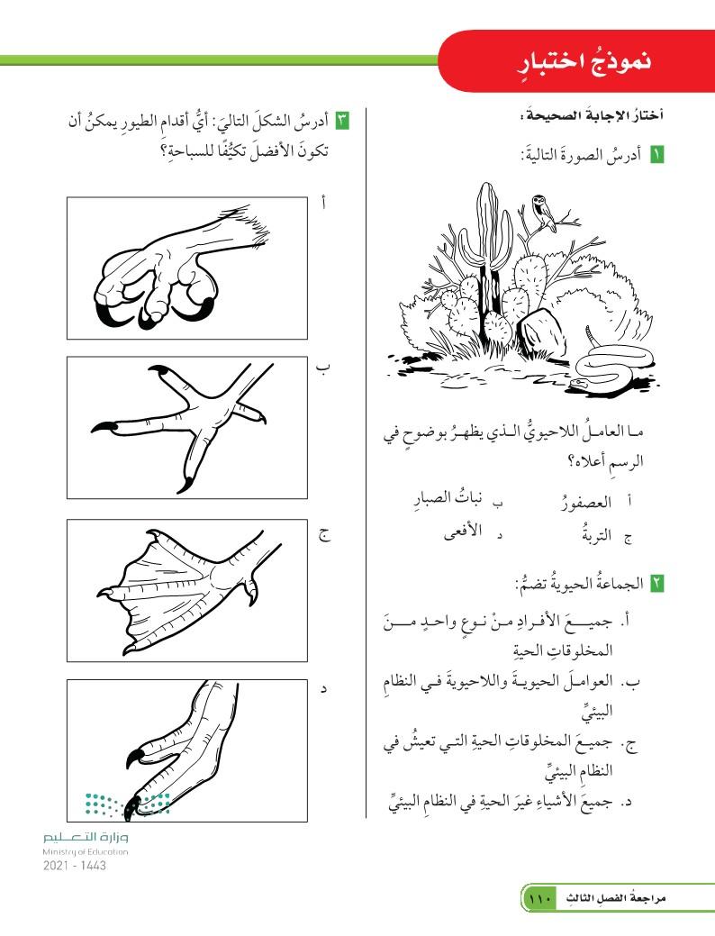 الدرس الثاني: التكيف والبقاء