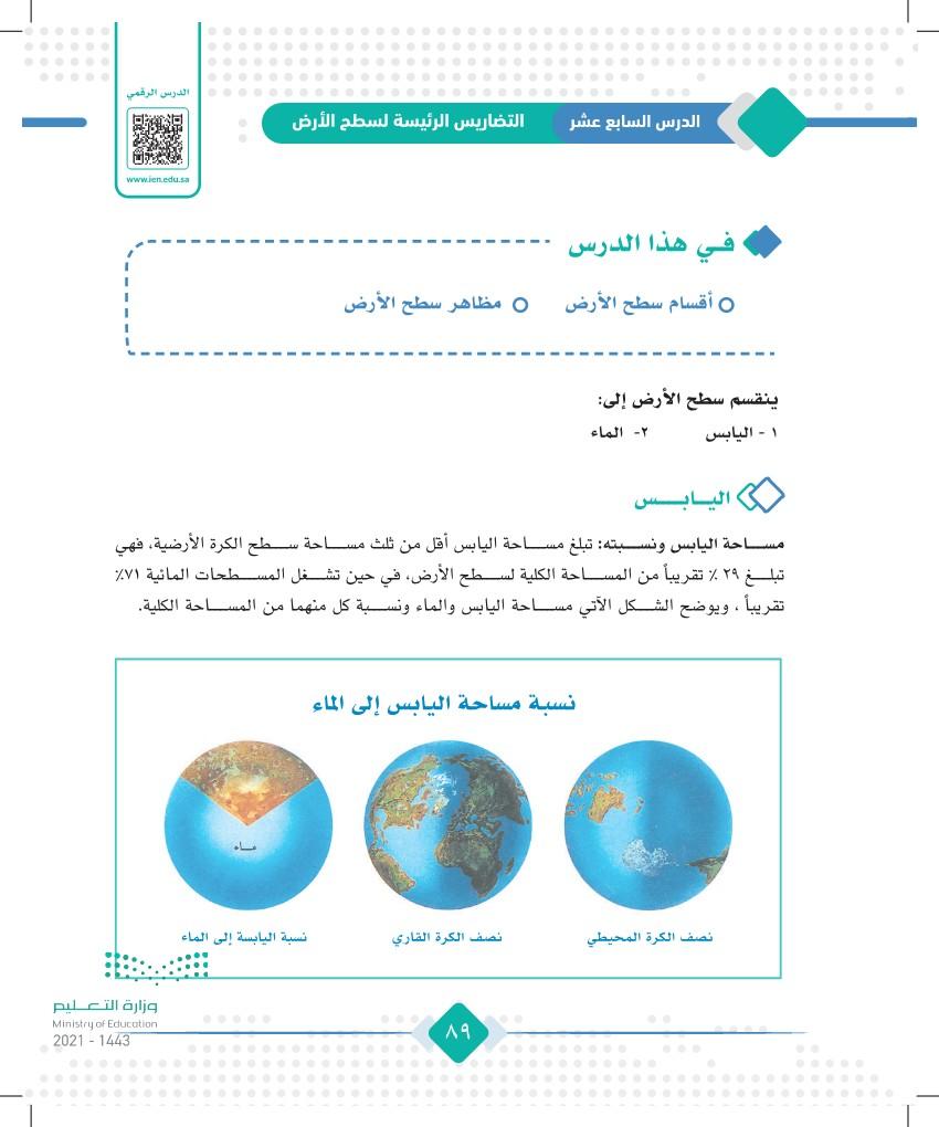 الدرس السابع عشر: التضاريس الرئيسة لسطح الأرض