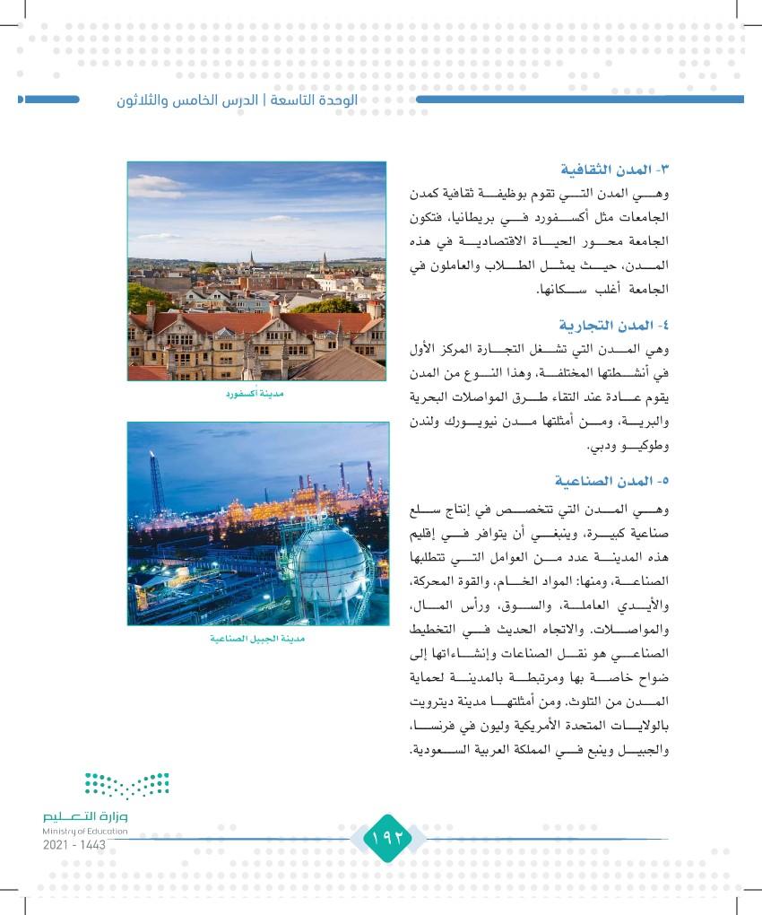 الدرس الخامس والثلاثون: وظائف المدن
