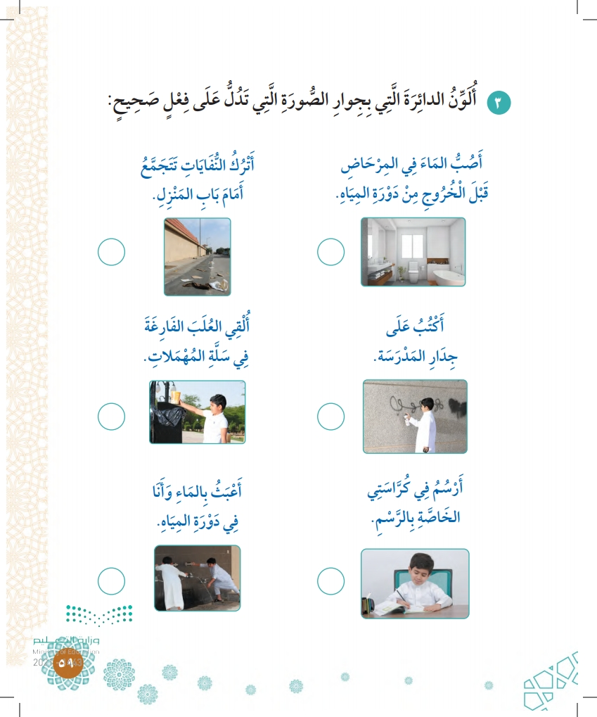 الدرس السابع: نظافة الملابس والمكان