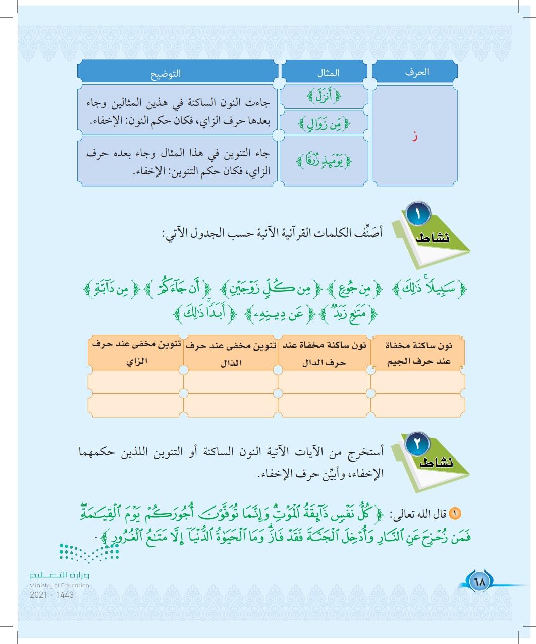 الدرس الثاني عشر: حروف الاخفاء (ج،د،ذ،ز)