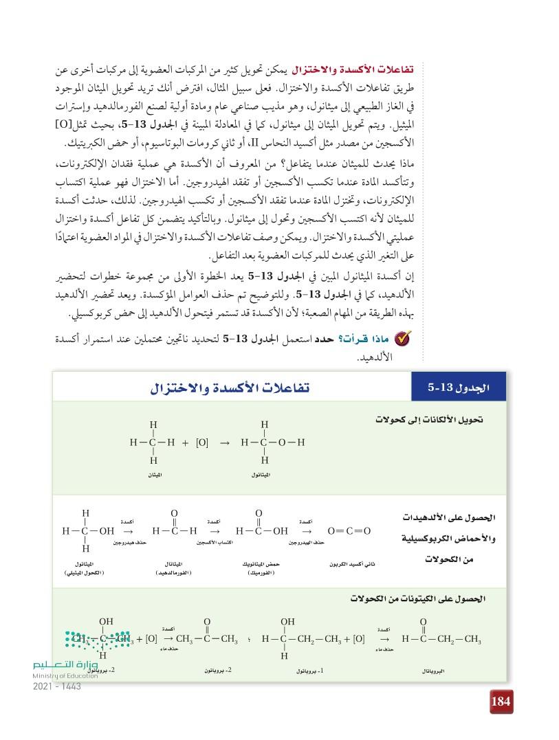 4-5 تفاعلات أخرى للمركبات العضوية
