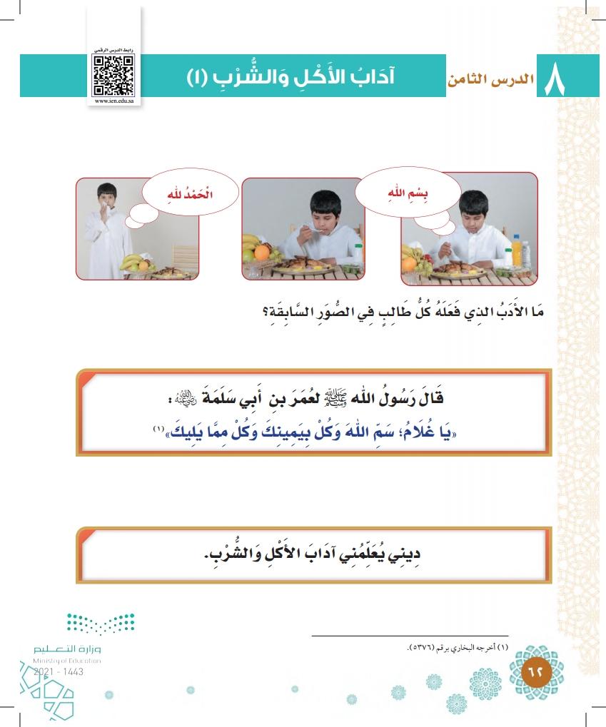 الدرس الثامن: آداب الأكل والشرب (1)