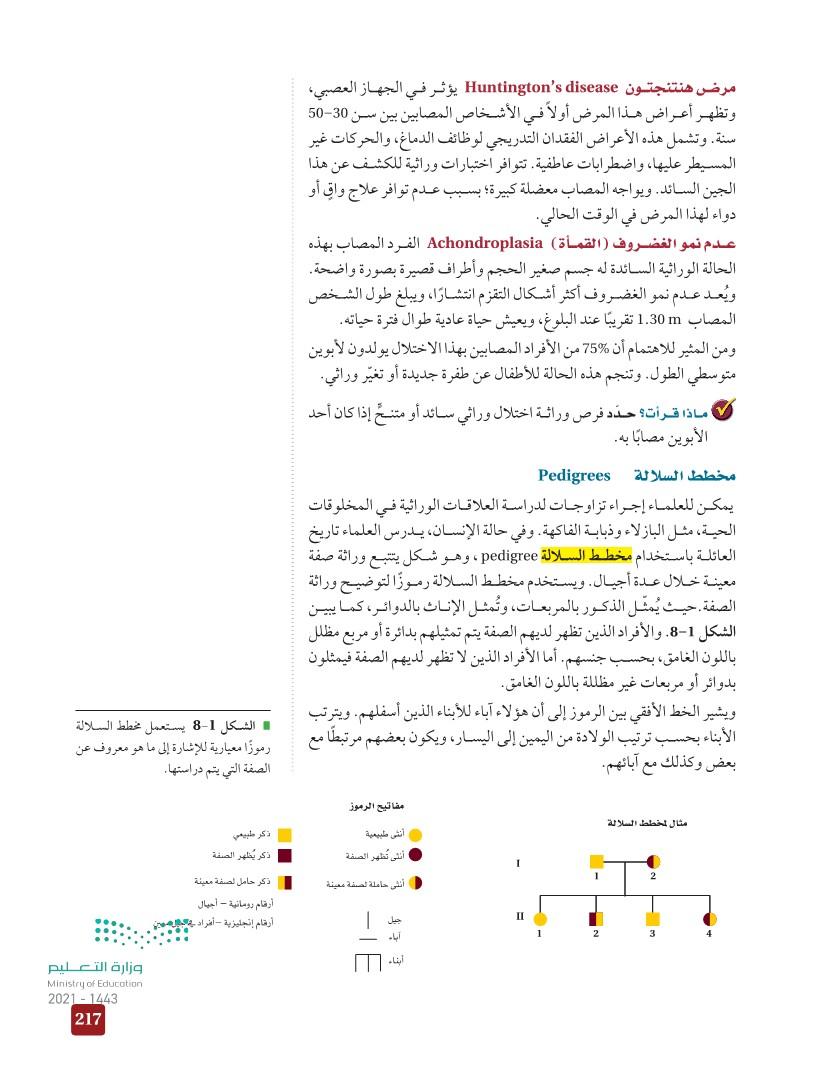 8-1 الأنماط الأساسية لوراثة الإنسان