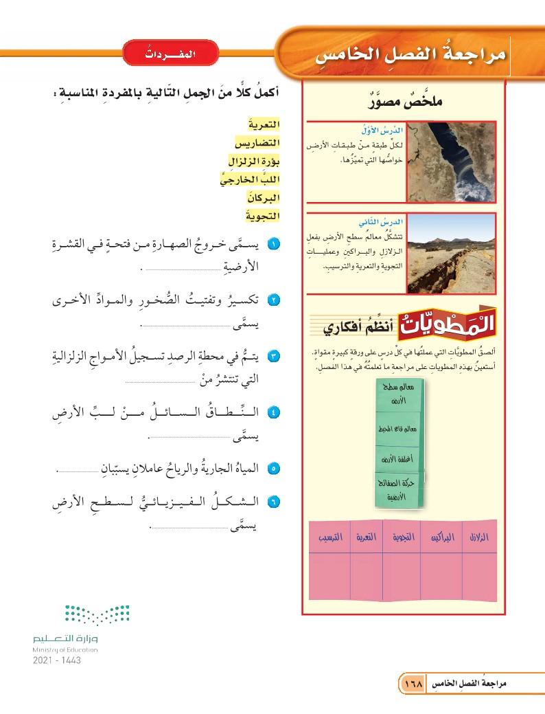 الدرس الثاني: العمليات المؤثرة في سطح الأرض